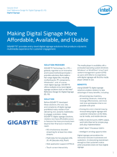 GIGABYTE Digital Signage Solution EL-10 Ref Design: Solution Brief