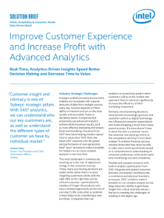 SAS Analytics Based on Intel Technology Deliver Advanced Analytics